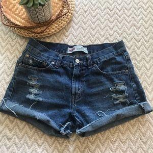 Levi's Distressed jean cut off shorts size 8